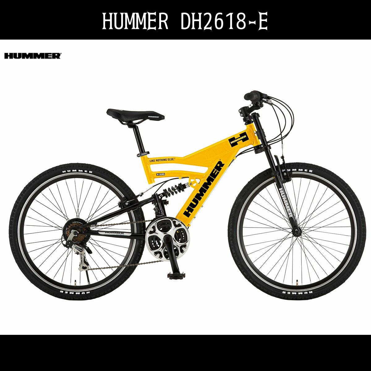 配送先一都三県一部地域限定送料無料 マウンテンバイク ハマー HUMMER 自転車 イエロー黄色 26インチ マウンテンバイク ハマー 外装18段変速ギア アルミ MTB DH2618-E アルミニウム おしゃれ