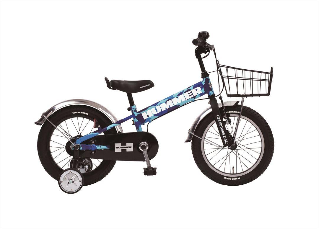 配送先一都三県一部地域限定送料無料 2018年モデル 子供用 マウンテンバイク ハマー HUMMER 自転車 幼児 補助輪付き 自転車 子ども用 自転車 迷彩 ブルー 16インチ ギアなし 補助輪 泥除け かご付 ハマー KID'S TANK3.0-SE 自転車