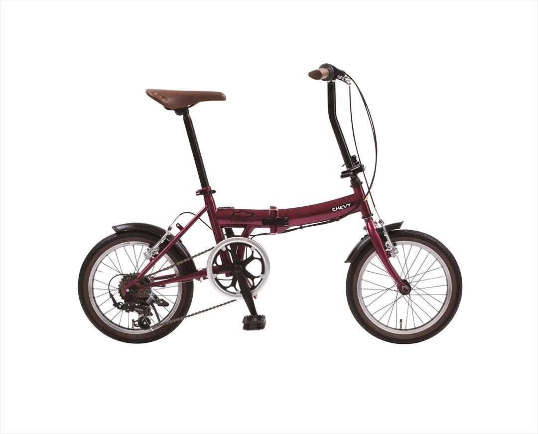 配送先一都三県限定 2018年モデル 送料無料 シボレー 折りたたみ自転車 16インチ 折りたたみ自転車 外装6段変速ギア CHEVY Classic CHEVY FDB166 レッド パープル ワインレッド おしゃれ