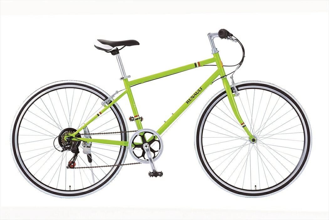 限定クーポン配布中!配送先一都三県一部地域限定送料無料 自転車 ルノー CRB7006S 外装6段変速ギア付き 軽量 クロスバイク 700c 緑色 グリーン 自転車 RENAULT ルノー 自転車 クロスバイク おしゃれ