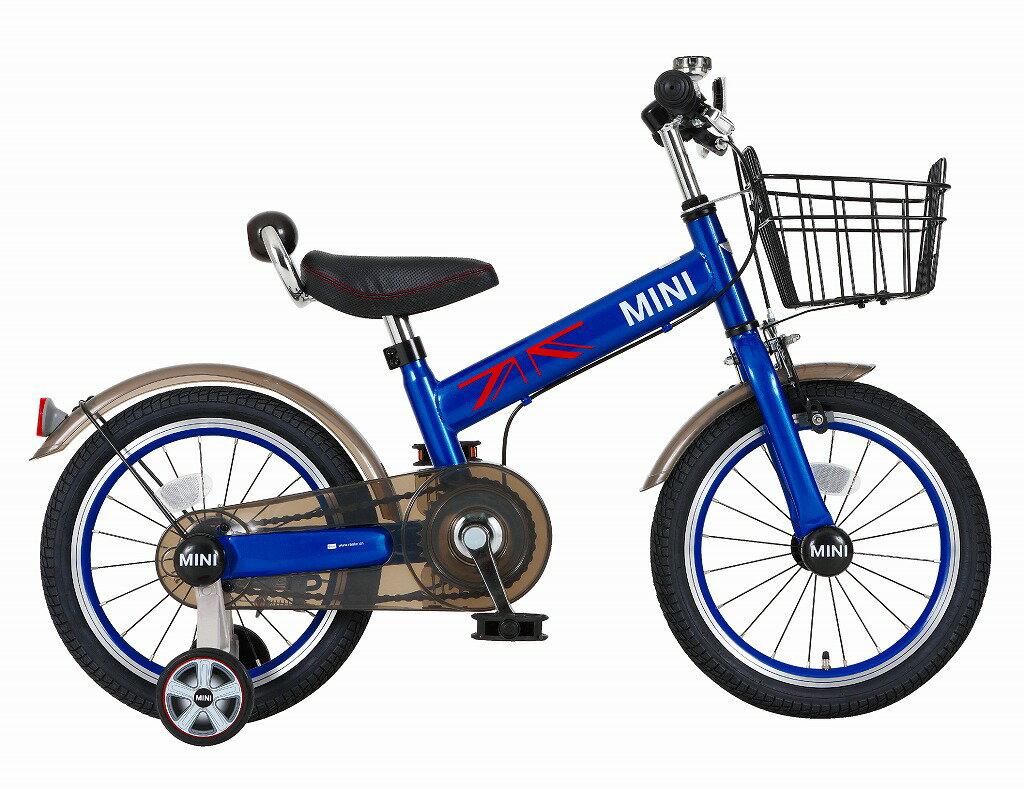 配送先一都三県一部地域限定送料無料 MINI KIDS BIKE16 2016モデル 子供用自転車 ディープブルー 青 ミニ 適正身長101〜119cm BMW 子供車 補助輪付き かご付き 14インチ ジュニア 自転車 キッズ 子供 おしゃれ