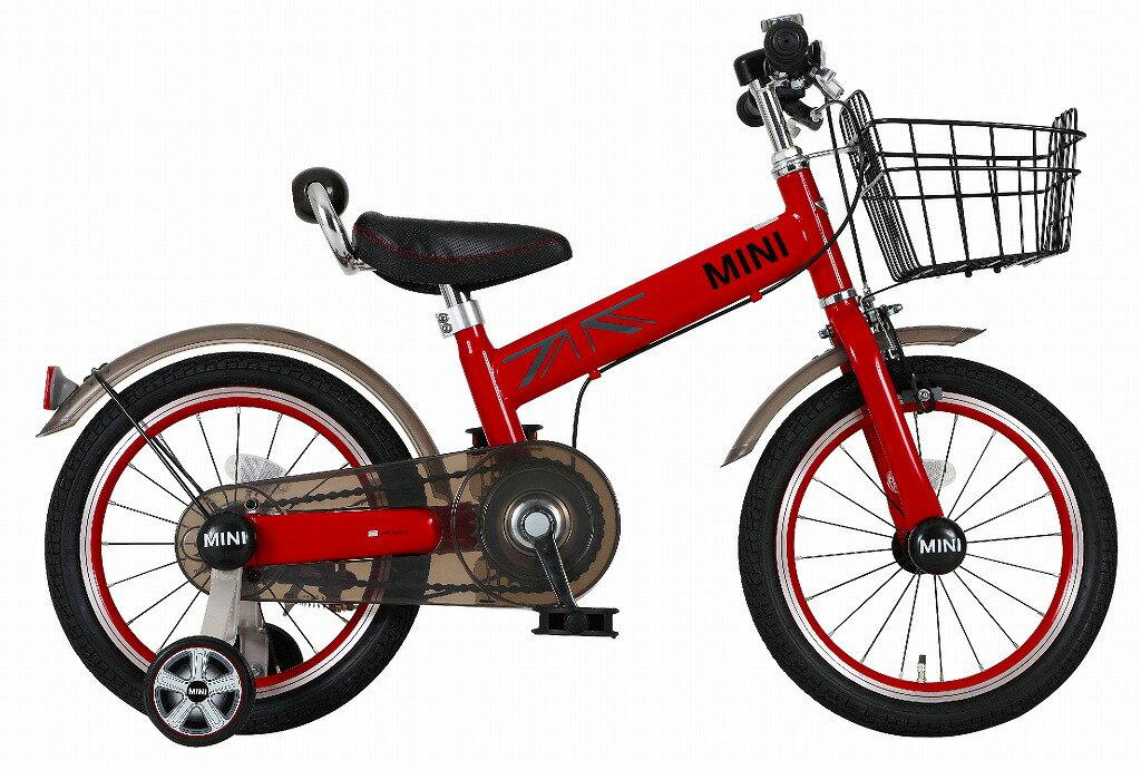 配送先一都三県一部地域限定送料無料 MINI KIDS BIKE16 2016モデル 子供用自転車 チリレッド 赤 ミニ 適正身長101〜119cm BMW 子供車 補助輪付き かご付き 14インチ ジュニア 自転車 キッズ 子供 おしゃれ