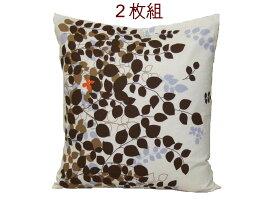 座布団カバー2枚組 木漏れ日の森(ブラウン) 55x59cm 綿100% 安心の日本製 送料無料