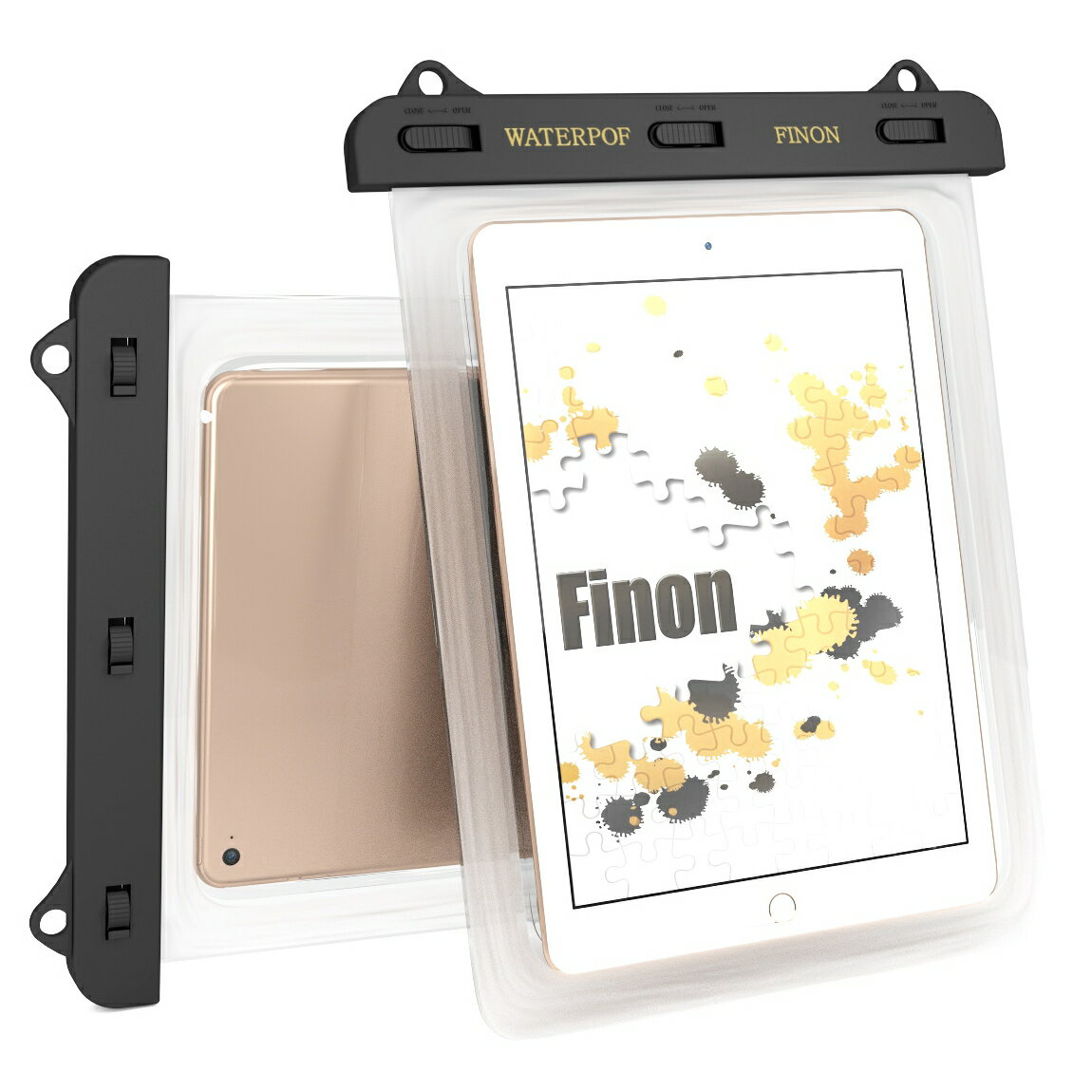 FINON【7-10インチ対応 WATERPOF CASE/防水ケース】防水ケース・専用ピック・ネックストラップ【iPad Pro9.7/Air/Air2/2/3/mini/2/3/4/Xperia Z4 Tablet/Z3 Tablet Compact/Amazon Fire/ASUS Pad/Google Nexus/AQUOS PAD/Huawei MediaPad/Docomo dtab 記載以外も対応】