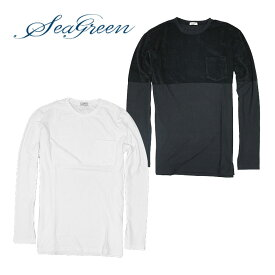 【SEAGREEN】シーグリーン パイル切替 ポケット付きT-シャツ 長袖Tシャツ T-Shirt パイル カットソー カジュアル 春夏