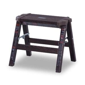 折り畳み スツール 1段 木目調 踏み台 アンティーク 椅子 はしご アルミ ステップ台 ステップスツール 木製 おしゃれ モダン 子供 ブルックリン 北欧 東谷 送料無料 花台