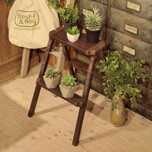 折り畳み スツール 2段 木目調 踏み台 アンティーク 椅子 はしご アルミ ステップ台 ステップスツール 木製 おしゃれ モダン 子供 ブルックリン 北欧 東谷 送料無料 花台