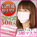 TR3マスク(ピンク) Sサイズ【94×160mm】1箱(50枚入)【マスク 花粉】《単品の代引き注文不可》 ※メール便発送はできません
