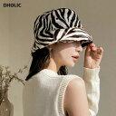 ゼブラパターンハット・全2色・d61906 レディース 【acc】【韓国 ファッション 帽子 ハット バケットハット バケハ ア…