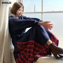 裏起毛サイドチェックワンピース・全2色・b56220 レディース【ops】【韓国 ファッション ワンピース ロングワンピース…