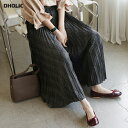 チェックプリーツフレアパンツ・全2色・b64397 レディース【pt】【韓国 ファッション ボトムス ズボン パンツ ロング…