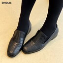 2TYPEブラックローファー・全2色 s54380 レディース【sho】【シューズ ローファー 靴 クロコパターン ファッション小…