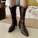 ウェスタンロングブーツ・全3色・s55904 レディース【sho】【韓国 ファッション シューズ 靴 ブーツ ロングブーツ ウ…