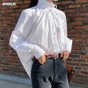 リボンハイネックブラウス・全3色・t64994 レディース【bl】【韓国 ファッション トップス ブラウス ロングスリーブ …