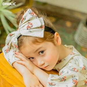 花柄ビッグリボンカチューシャ・u05437 キッズ【3~8才】【acc】【ヘアアクセサリー カチューシャ 花柄 リボン 大きめ ガーリー かわいい 女の子 韓国 韓国子供服 子供 こども 子供服 こども服