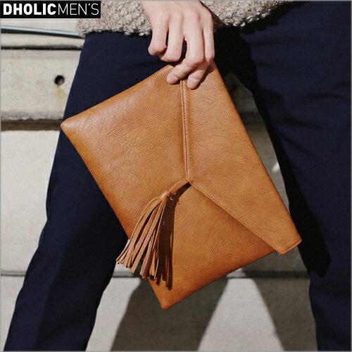 タッセルポイントフェイクレザークラッチバッグ・全2色・n47073 メンズ【bag】【オフィスカジュアル】