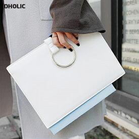 メタルリングレザークラッチバッグ・全4色・s46353 レディース【bag】【ミニバッグ】【ハイホリHIHOLLI】