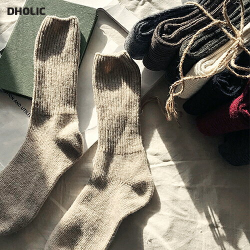ウールブレンドリブソックス・全8色・48614 レディース【acc】【靴下 シンプル カジュアル ロング丈 冬】