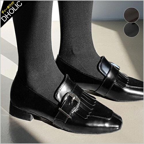 フリンジバックルローファー・全2色・s49485 レディース【sho】【おじ靴 大人カジュアル 靴 シューズ スクエアトゥ】