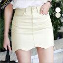 ウェーブヘムタイトミニスカート・全3色・t46530 レディース【sk】【切りっぱなし】