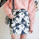 リネン混フローラルタイトミニスカート・全3色・t47499 レディース【sk】【フラワー 花柄】
