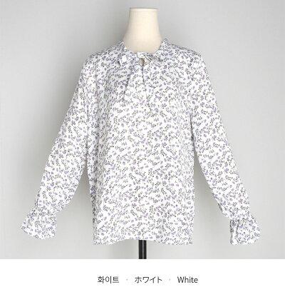 ネックリボン花柄ブラウス・全3色・b52874レディース【bl】【トップスブラウス長袖リボン花柄フラワーカジュアルかわいいガーリーフェミニン春】