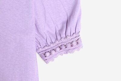 レースラインTシャツ・全3色・b52269レディース【tops】【トップスTシャツ7分袖ラウンドネックレース綿コットンカジュアルかわいいガーリーフェミニン春】