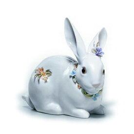 〈リヤドロ〉花飾りの白うさぎ(2)01006098[モ]kuin【RCP】_Y150617100016_0_0_0
