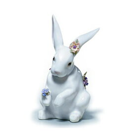 〈リヤドロ〉花飾りの白うさぎ(4)01006100[モ]kuin【RCP】_Y150617100017_0_0_0