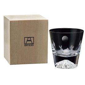 タジマガラス Tajimaglass 田島硝子 江戸硝子 富士山 ロックグラス 270ml 木箱入 季節柄 (月とうさぎ) TGS-19T-R2