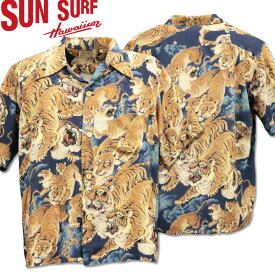 SUN SURF サンサーフ アロハシャツ HAWAIIAN SHIRT SPECIAL EDITION / ONE HUNDRED TIGERS SSS38201-128 Navy
