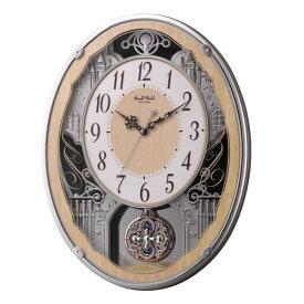【北海道・沖縄・離島配送不可】4MN538RH23 電波からくり掛時計 リズム時計 スモールワールドクラッセ 壁掛け時計 電波時計 電波掛け時計 電波掛時計 壁掛時計 かけ時計 壁掛け電波時計 電波壁掛け