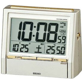 SEIKO セイコー 音声電波目覚まし時計 置時計 TALK LINER トークライナー DA206G 薄金色パール塗装 セイコー置き時計/電波めざまし時計/電波目ざまし時計/電波目覚し時計/温湿時計/電波時計