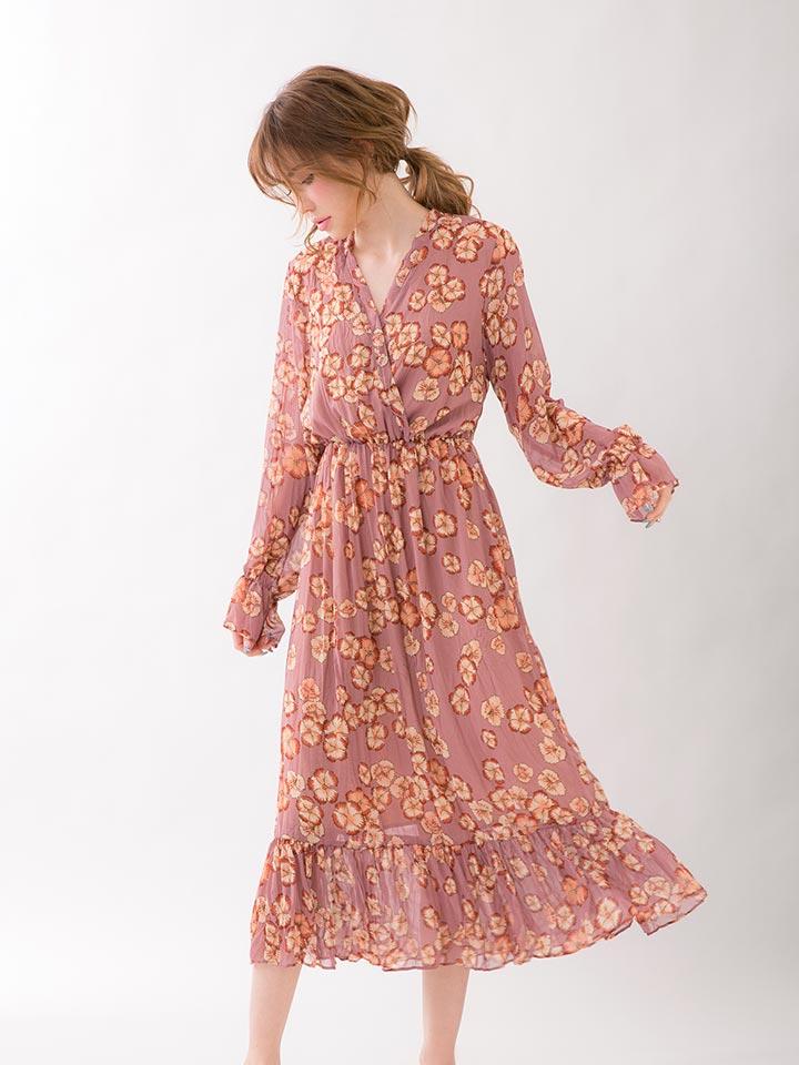 【送料無料】 ルームウェア ワンピース メロウ フラワー シフォン ルームドレス [CARRIEFRANCA]   ドレス レディース パジャマ 部屋着 女性 スカート 大人 可愛い かわいい 長袖 秋 春 夏 ルーム ウェア ナイトウェア