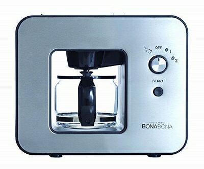 CCP 【BONABONA】 全自動ミル付きコーヒーメーカー(保温機能搭載) 「豆・粉からドリップ可能」 ガラスジャグ付き ブラック BZ-MC81-BK
