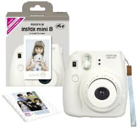 FUJIFILM インスタントカメラ チェキ instax mini 8 純正ハンドストラップ付き ホワイト INS MINI 8 WHITE N