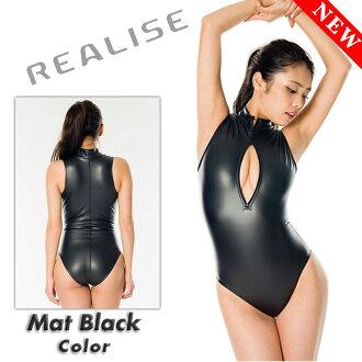 REALISE (N-706_MBL) front zipper swimming swimsuit costume enamel 2WAY material matte black