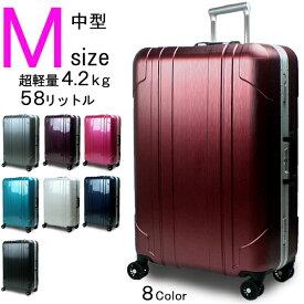 スーツケース 送料無料 Mサイズ TSAロック ハイエンドモデル 新型クリムゾン・プロ フレームタイプ 中型 3泊〜7泊