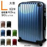 スーツケースLサイズキャリーバッグかわいいTSAロック大型超軽量ダブルファスナーでマチUP7泊〜14泊用鏡面ミラープレミアム加工FS3000PC