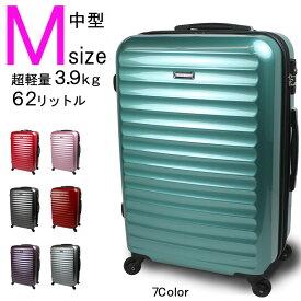 スーツケース Mサイズ 中型 送料無料 女性に人気 新型ヴィアーノ 超軽量 ダブルファスナーモデル 3泊〜7泊用
