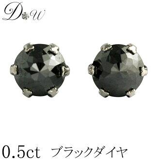 플래티늄 900 슈 바 로즈 컷 블랙 다이아몬드 귀걸이 0.5 ct