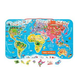 Janod ジャノー マグネット ワールドマップ パズル   世界地図 地図 7歳 国 勉強 英語 型はめ 知育 知育玩具 子ども キッズ 男の子 女の子 おもちゃ おしゃれ かわいい カラフル プレゼント ギフ