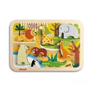 Janod ジャノー スタック ウッドパズル 7ピース | プレゼント ギフト パズル バランスゲーム 1歳半 2歳 3歳 動物 積み木 子ども キッズ ベビー おもちゃ かわいい カラフル インテリア おうち時