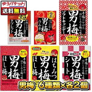 【ゆうパケット便】【送料無料】【ノーベル製菓】男梅シリーズ 6種類×各2個セット