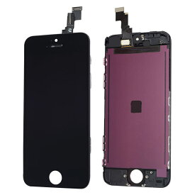 【iPhone5C互換品】高品質フロントパネル(液晶・ガラスセット) ブラック 黒【スマホ修理部品】