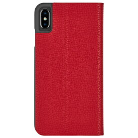 iPhoneXS Max ケース エンボスレザー調 シンプル レッド Barely There Folio-Cardinal Case-Mate ケースメート 耐衝撃性抜群