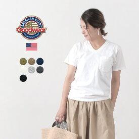 GOODWEAR(グッドウェア) ポケット Tシャツ 半袖 / Vネック / 無地 / メンズ レディース / ヘビーオンス 厚手 / S/S V-NECK TEE