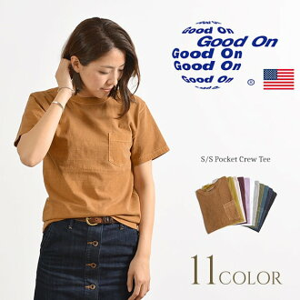 / GOST0903 made in the GOOD ON (good on) short sleeve basic pocket crew neck T-shirt / Lady's / short sleeves plain fabric / pigment die / United States
