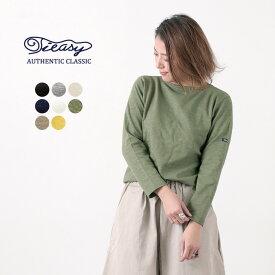 TIEASY(ティージー) オーガニック ボートネック バスクシャツ / 無地 ソリッド / コットン Tシャツ 長袖 / レディース / 日本製