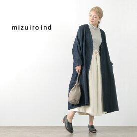 MIZUIROIND(ミズイロインド) バイオウォッシュ デニム ワイド コート / レディース / コットン / ライトアウター / 羽織り / ロング / 長袖 / 日本製 / liou / 3-279595BW / B/W DENIM WIDE COAT